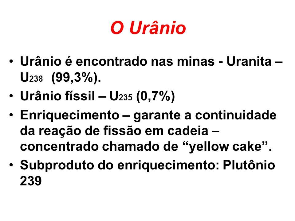 O Urânio Urânio é encontrado nas minas - Uranita – U 238 (99,3%). Urânio físsil – U 235 (0,7%) Enriquecimento – garante a continuidade da reação de fi