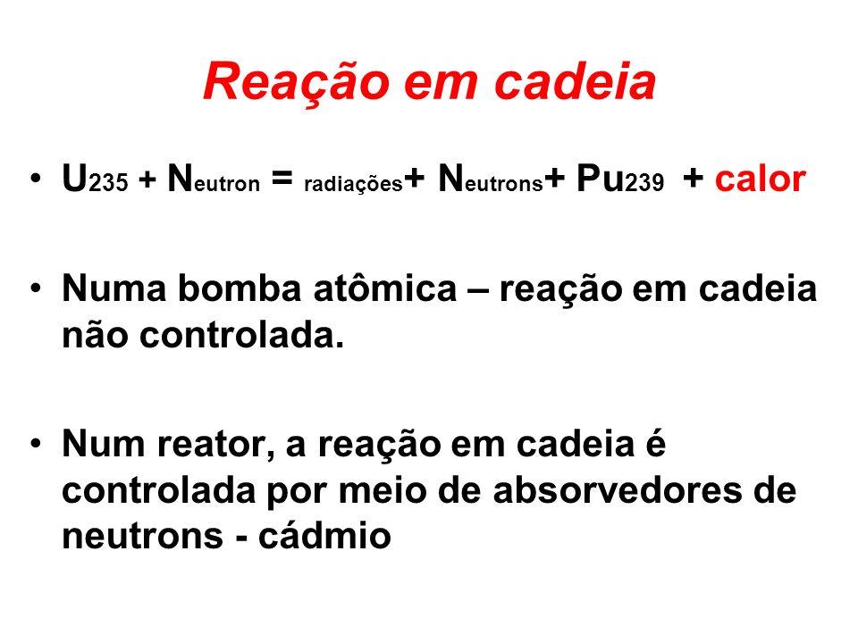 Reação em cadeia U 235 + N eutron = radiações + N eutrons + Pu 239 + calor Numa bomba atômica – reação em cadeia não controlada. Num reator, a reação