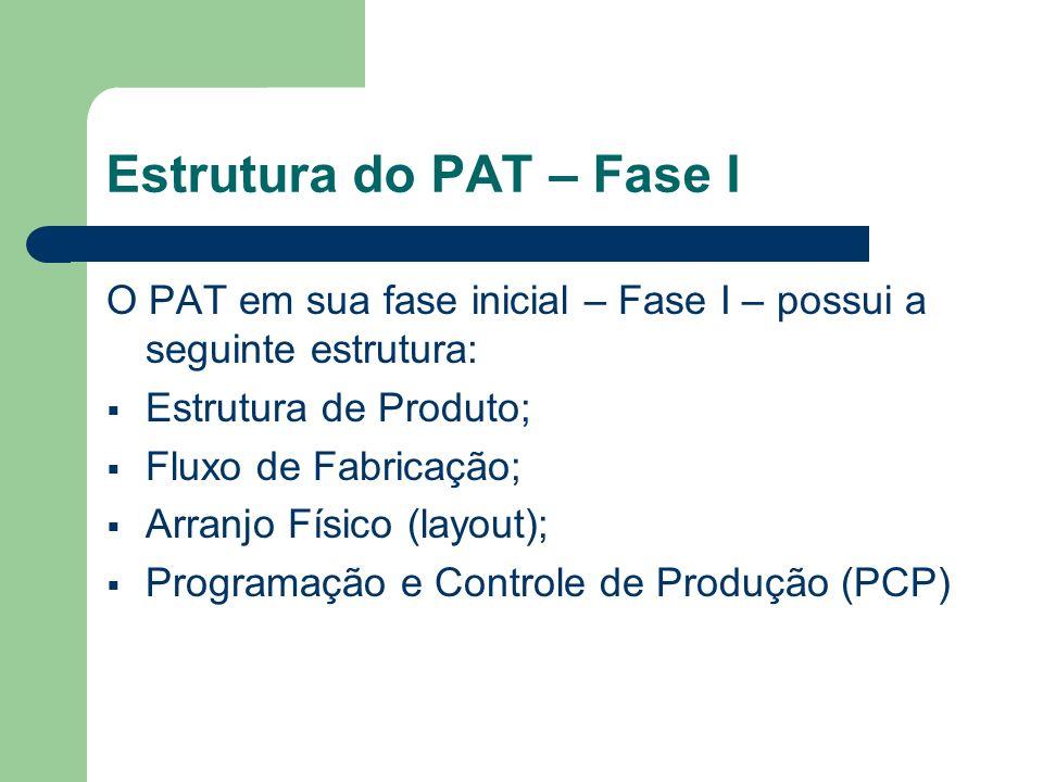 Estrutura do PAT – Fase I O PAT em sua fase inicial – Fase I – possui a seguinte estrutura: Estrutura de Produto; Fluxo de Fabricação; Arranjo Físico