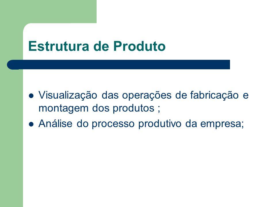 Estrutura de Produto Visualização das operações de fabricação e montagem dos produtos ; Análise do processo produtivo da empresa;