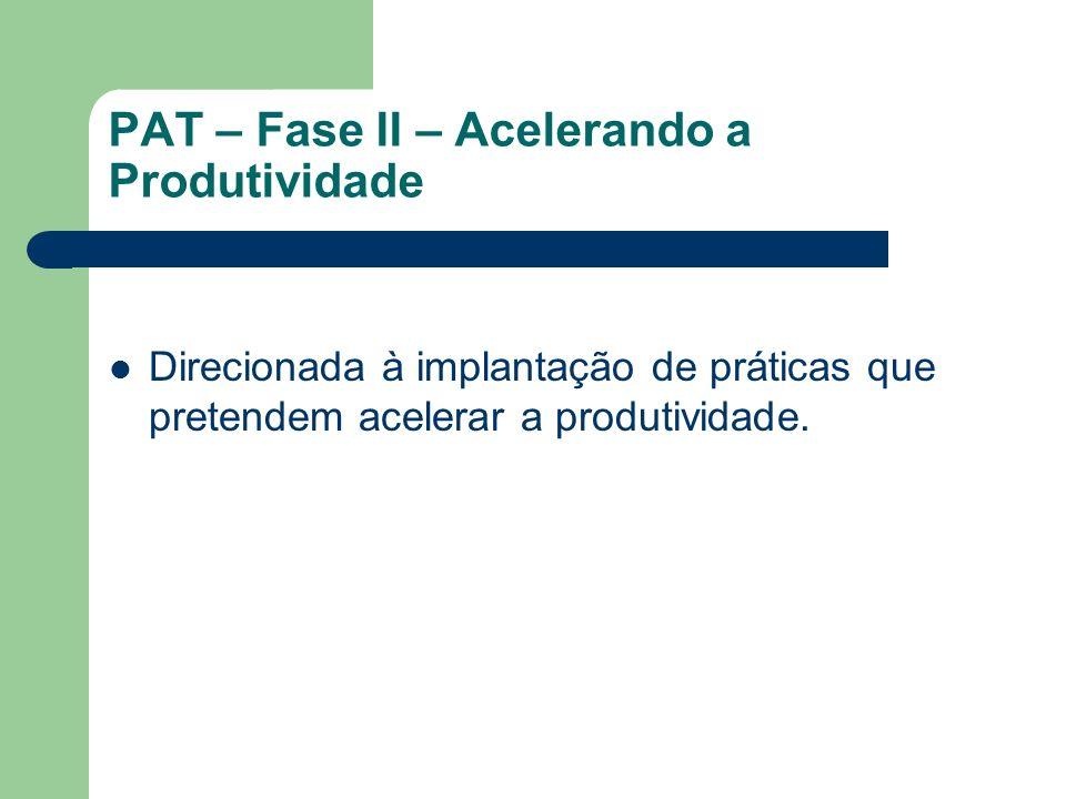 PAT – Fase II – Acelerando a Produtividade Direcionada à implantação de práticas que pretendem acelerar a produtividade.