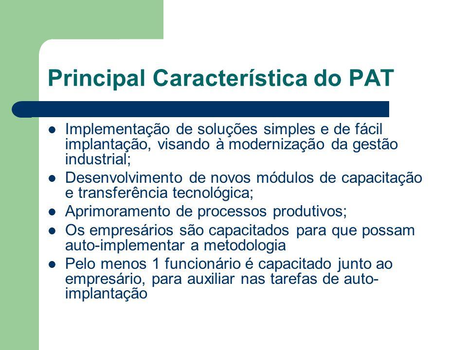 Principal Característica do PAT Implementação de soluções simples e de fácil implantação, visando à modernização da gestão industrial; Desenvolvimento