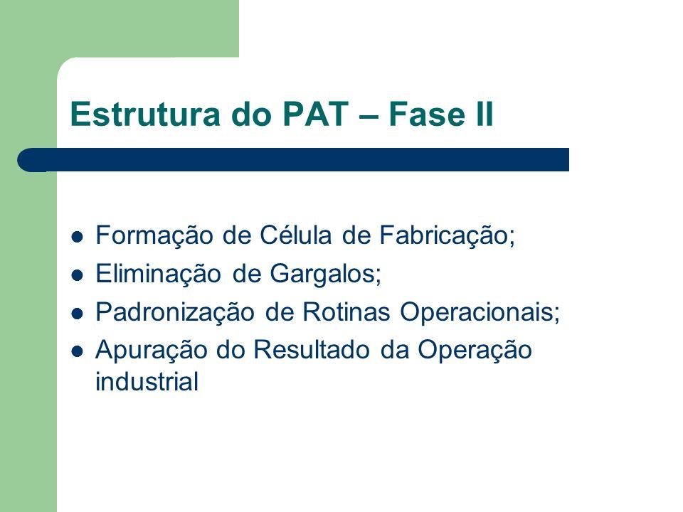 Estrutura do PAT – Fase II Formação de Célula de Fabricação; Eliminação de Gargalos; Padronização de Rotinas Operacionais; Apuração do Resultado da Op