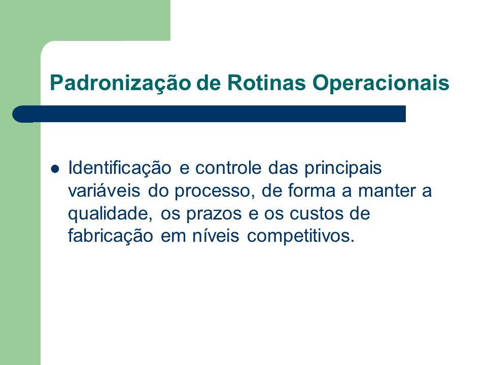 Padronização de Rotinas Operacionais Identificação e controle das principais variáveis do processo, de forma a manter a qualidade, os prazos e os cust