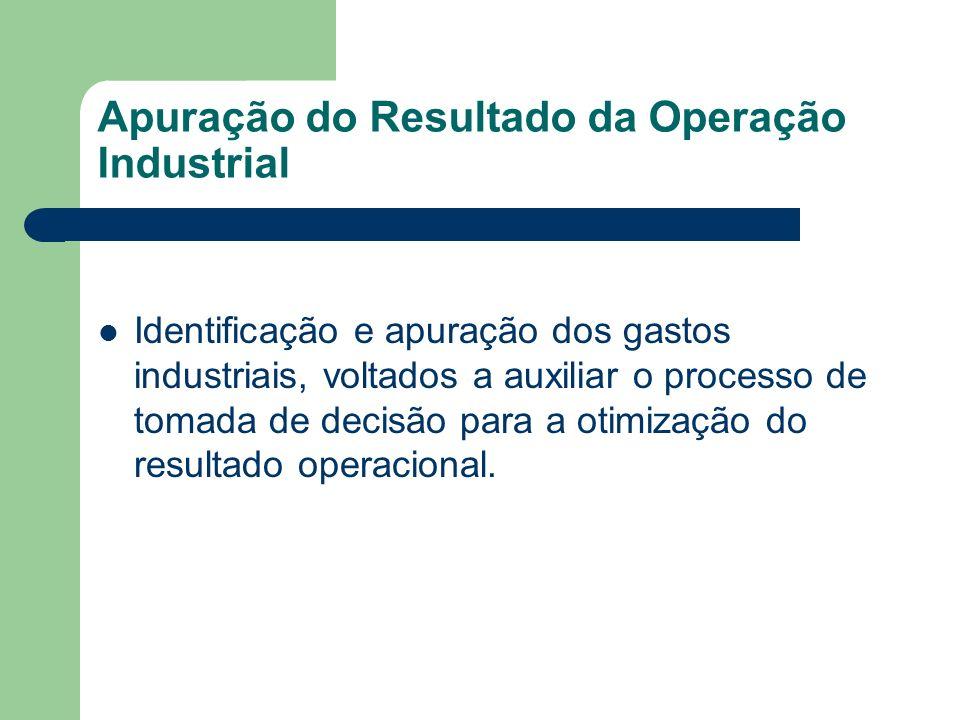 Apuração do Resultado da Operação Industrial Identificação e apuração dos gastos industriais, voltados a auxiliar o processo de tomada de decisão para
