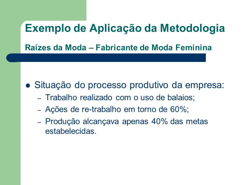 Exemplo de Aplicação da Metodologia Raízes da Moda – Fabricante de Moda Feminina Situação do processo produtivo da empresa: – Trabalho realizado com o