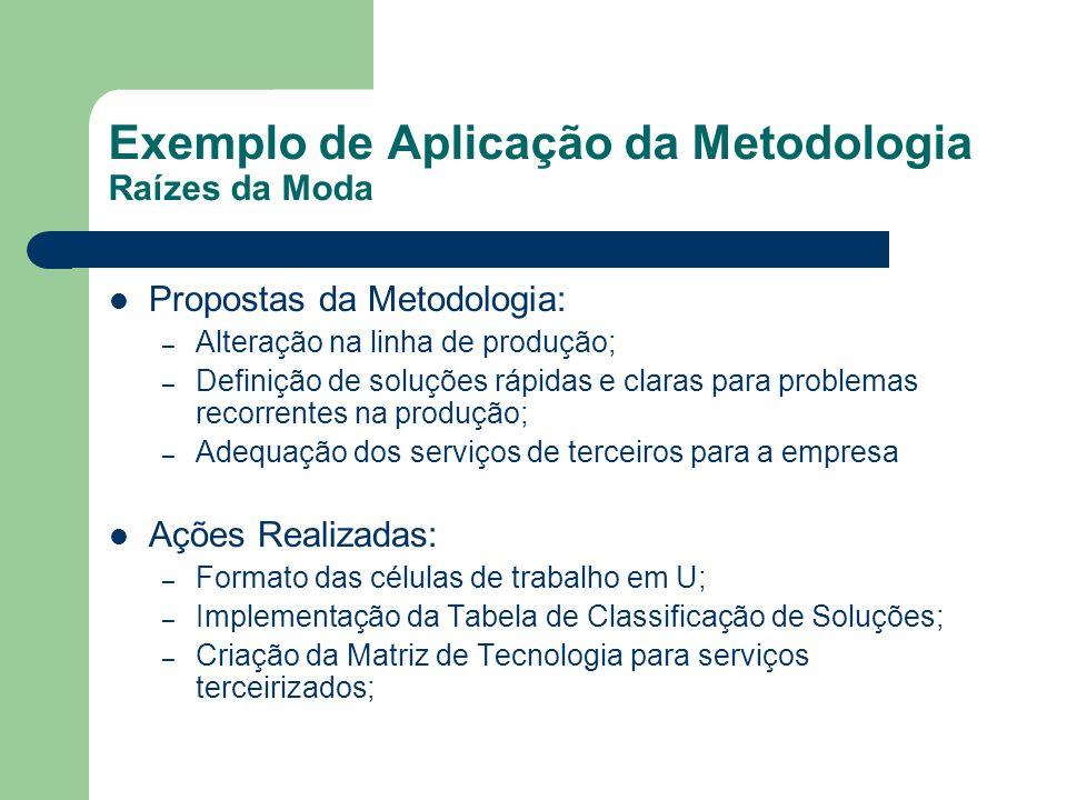 Exemplo de Aplicação da Metodologia Raízes da Moda Propostas da Metodologia: – Alteração na linha de produção; – Definição de soluções rápidas e clara