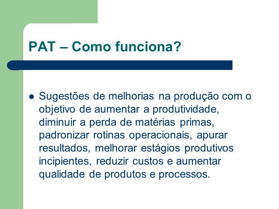 PAT – Como funciona? Sugestões de melhorias na produção com o objetivo de aumentar a produtividade, diminuir a perda de matérias primas, padronizar ro