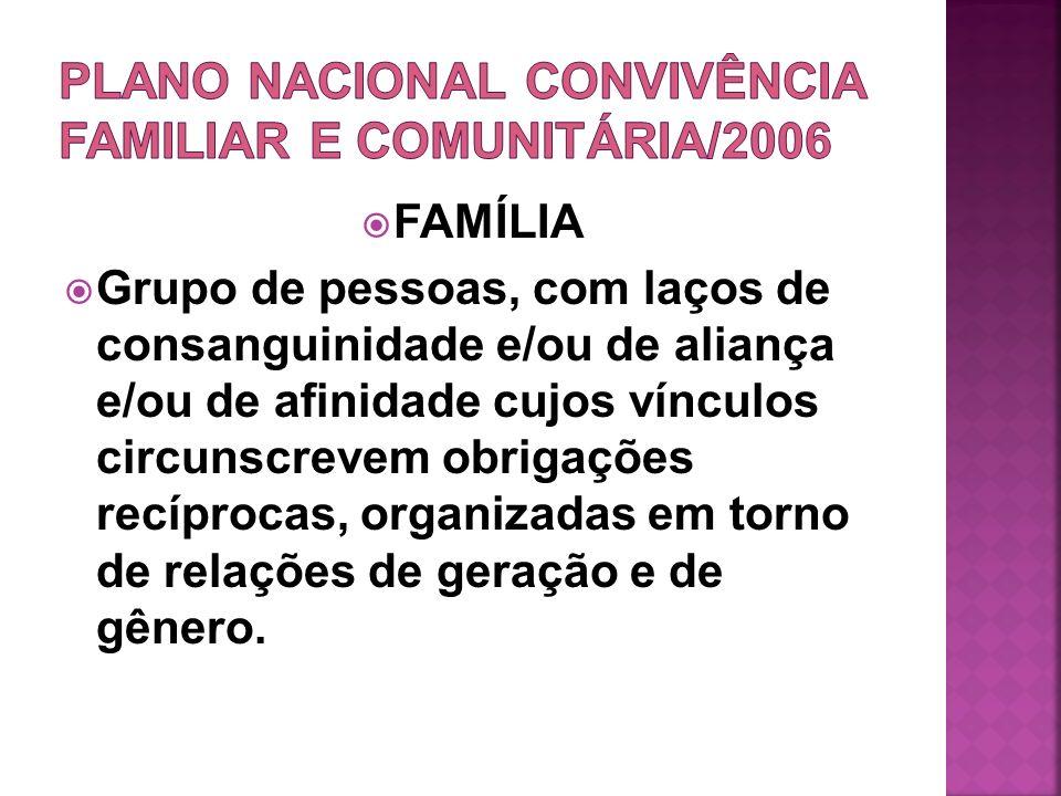 FAMÍLIA Grupo de pessoas, com laços de consanguinidade e/ou de aliança e/ou de afinidade cujos vínculos circunscrevem obrigações recíprocas, organizad