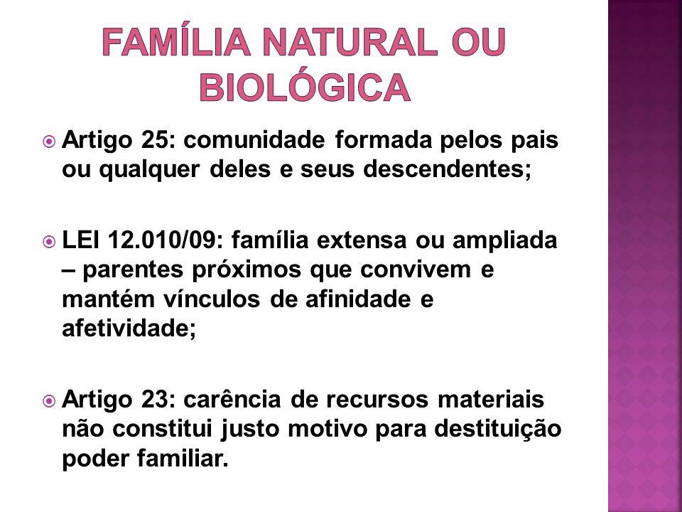Artigo 25: comunidade formada pelos pais ou qualquer deles e seus descendentes; LEI 12.010/09: família extensa ou ampliada – parentes próximos que con