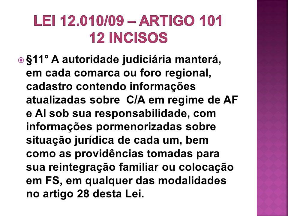 §11° A autoridade judiciária manterá, em cada comarca ou foro regional, cadastro contendo informações atualizadas sobre C/A em regime de AF e AI sob s