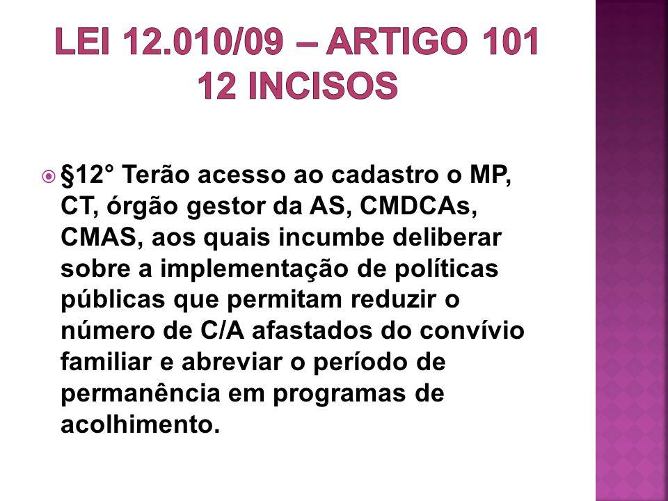 §12° Terão acesso ao cadastro o MP, CT, órgão gestor da AS, CMDCAs, CMAS, aos quais incumbe deliberar sobre a implementação de políticas públicas que
