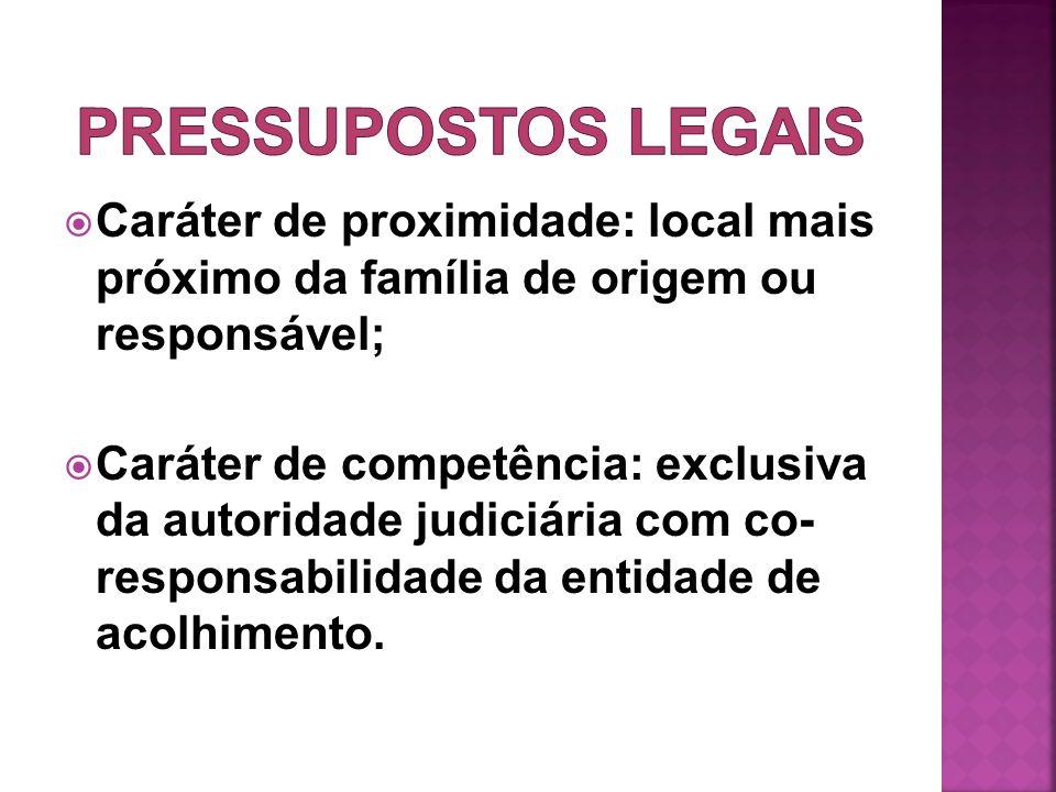 Caráter de proximidade: local mais próximo da família de origem ou responsável; Caráter de competência: exclusiva da autoridade judiciária com co- res