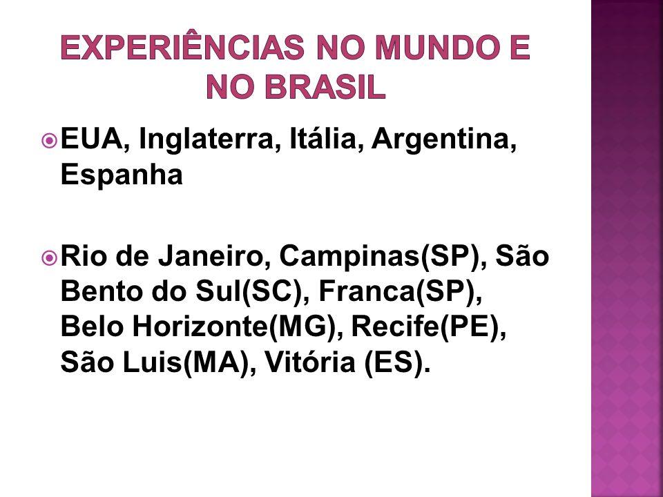 EUA, Inglaterra, Itália, Argentina, Espanha Rio de Janeiro, Campinas(SP), São Bento do Sul(SC), Franca(SP), Belo Horizonte(MG), Recife(PE), São Luis(M