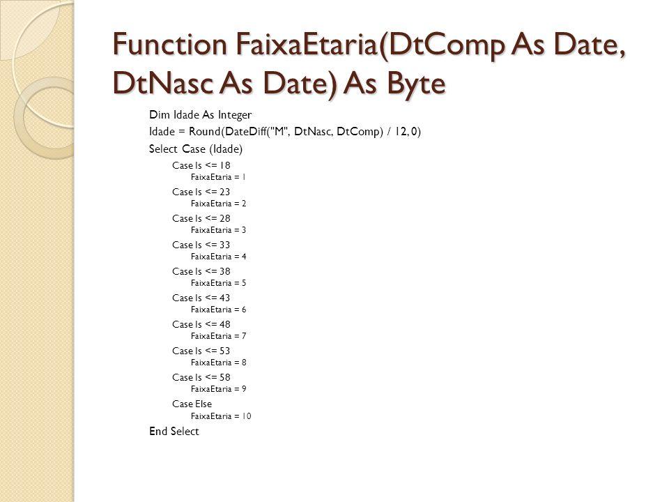 Function FaixaEtaria(DtComp As Date, DtNasc As Date) As Byte Dim Idade As Integer Idade = Round(DateDiff(