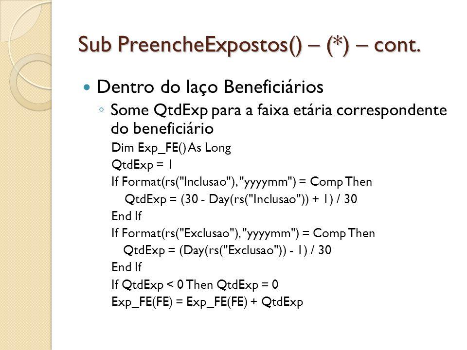 Sub PreencheExpostos() – (*) – cont. Dentro do laço Beneficiários Some QtdExp para a faixa etária correspondente do beneficiário Dim Exp_FE() As Long
