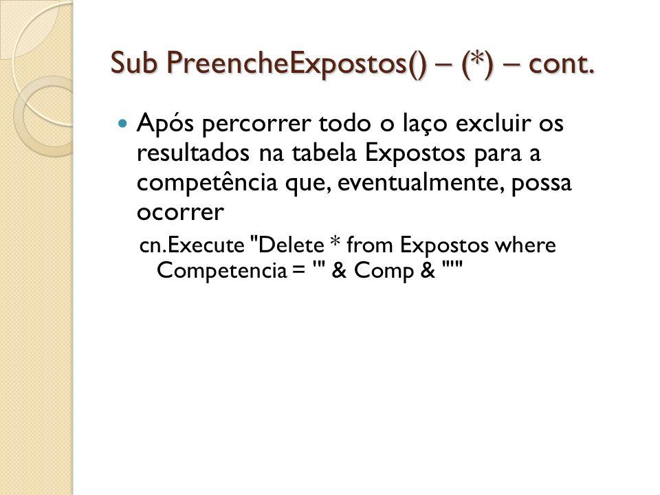 Sub PreencheExpostos() – (*) – cont. Após percorrer todo o laço excluir os resultados na tabela Expostos para a competência que, eventualmente, possa