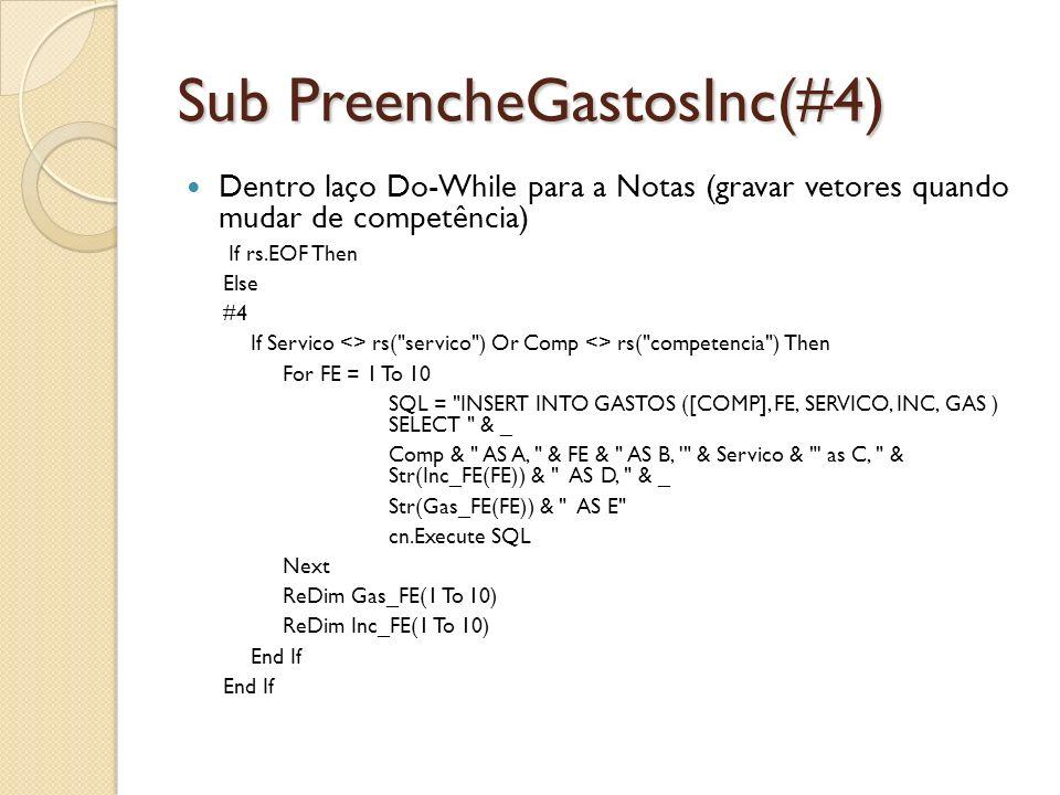 Sub PreencheGastosInc(#4) Dentro laço Do-While para a Notas (gravar vetores quando mudar de competência) If rs.EOF Then Else #4 If Servico <> rs(