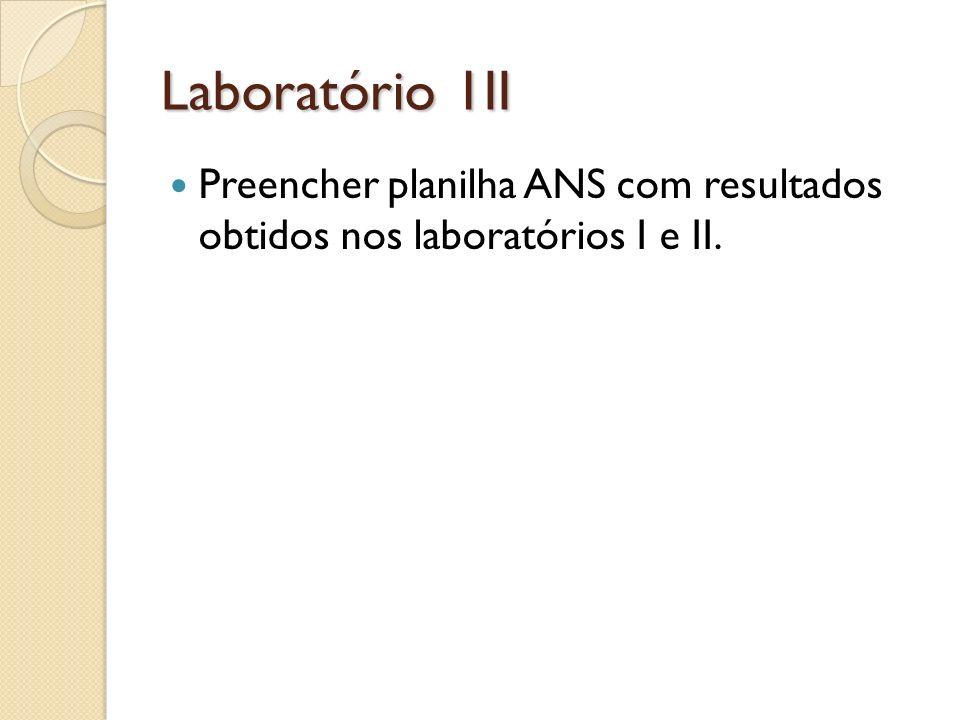 Laboratório 1II Preencher planilha ANS com resultados obtidos nos laboratórios I e II.