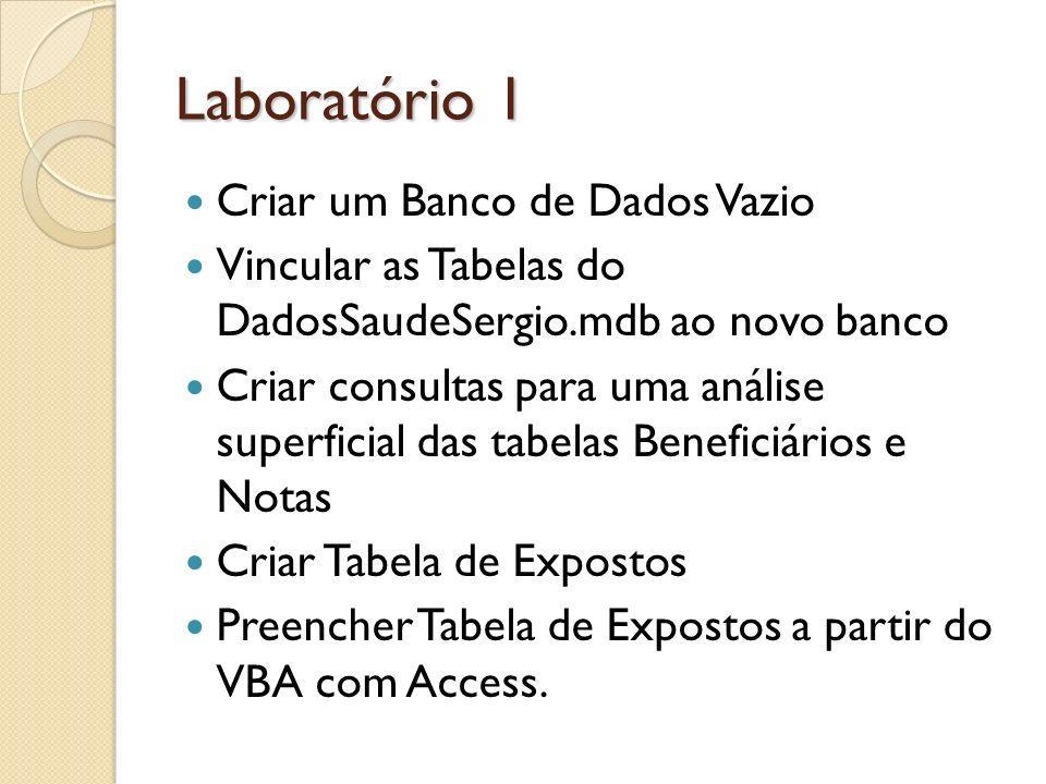 Laboratório 1 Criar um Banco de Dados Vazio Vincular as Tabelas do DadosSaudeSergio.mdb ao novo banco Criar consultas para uma análise superficial das