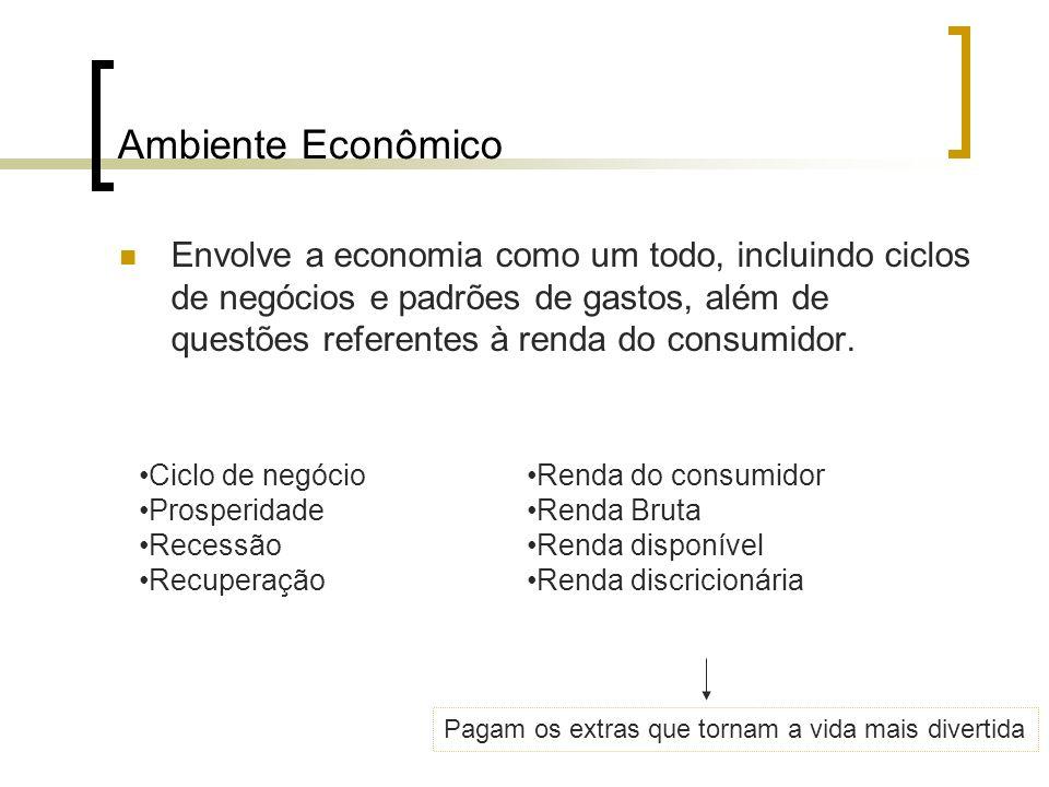 Ambiente Econômico Envolve a economia como um todo, incluindo ciclos de negócios e padrões de gastos, além de questões referentes à renda do consumido