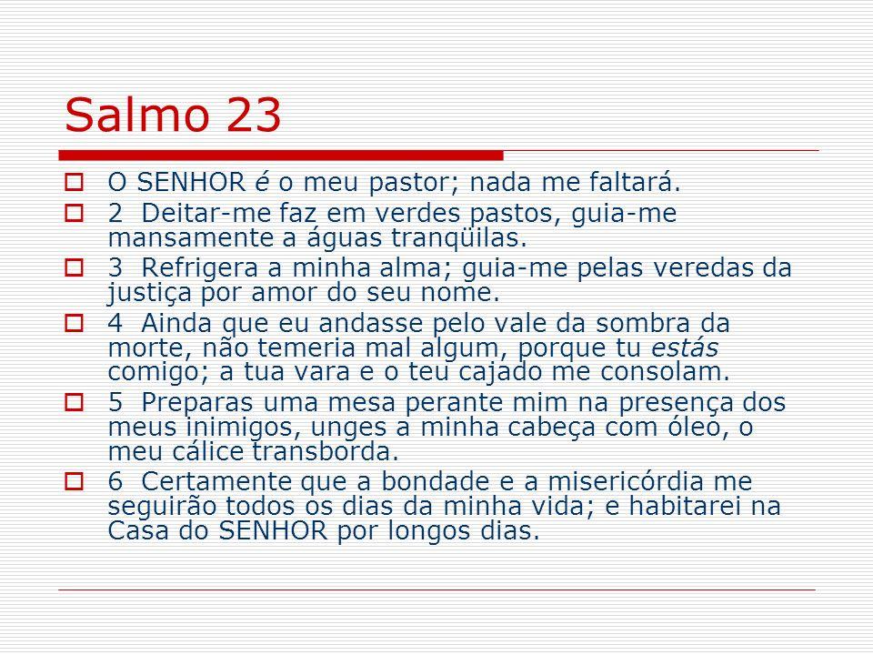 Salmo 23 O SENHOR é o meu pastor; nada me faltará. 2 Deitar-me faz em verdes pastos, guia-me mansamente a águas tranqüilas. 3 Refrigera a minha alma;