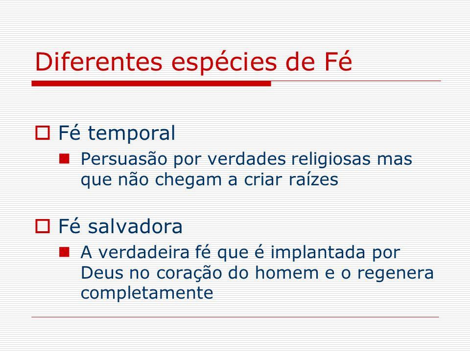 Diferentes espécies de Fé Fé temporal Persuasão por verdades religiosas mas que não chegam a criar raízes Fé salvadora A verdadeira fé que é implantad
