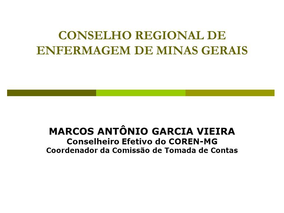CONSELHO REGIONAL DE ENFERMAGEM DE MINAS GERAIS MARCOS ANTÔNIO GARCIA VIEIRA Conselheiro Efetivo do COREN-MG Coordenador da Comissão de Tomada de Cont
