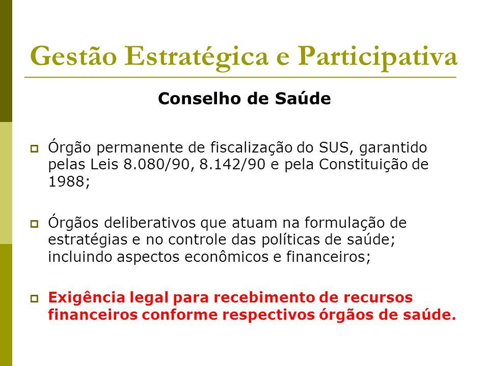 Gestão Estratégica e Participativa Conselho de Saúde Órgão permanente de fiscalização do SUS, garantido pelas Leis 8.080/90, 8.142/90 e pela Constitui