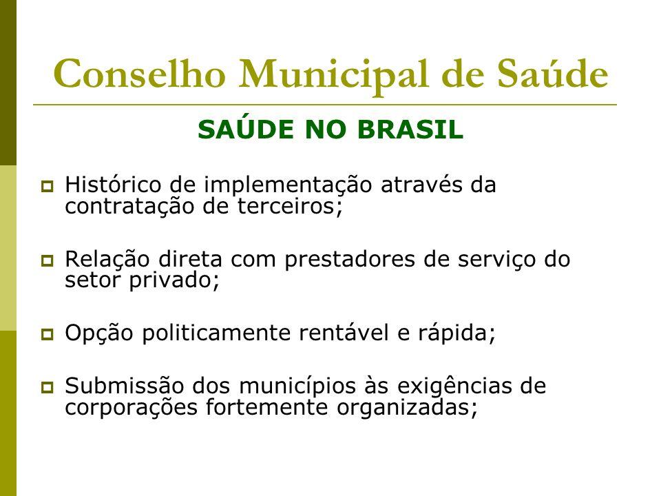 Conselho Municipal de Saúde SAÚDE NO BRASIL Histórico de implementação através da contratação de terceiros; Relação direta com prestadores de serviço