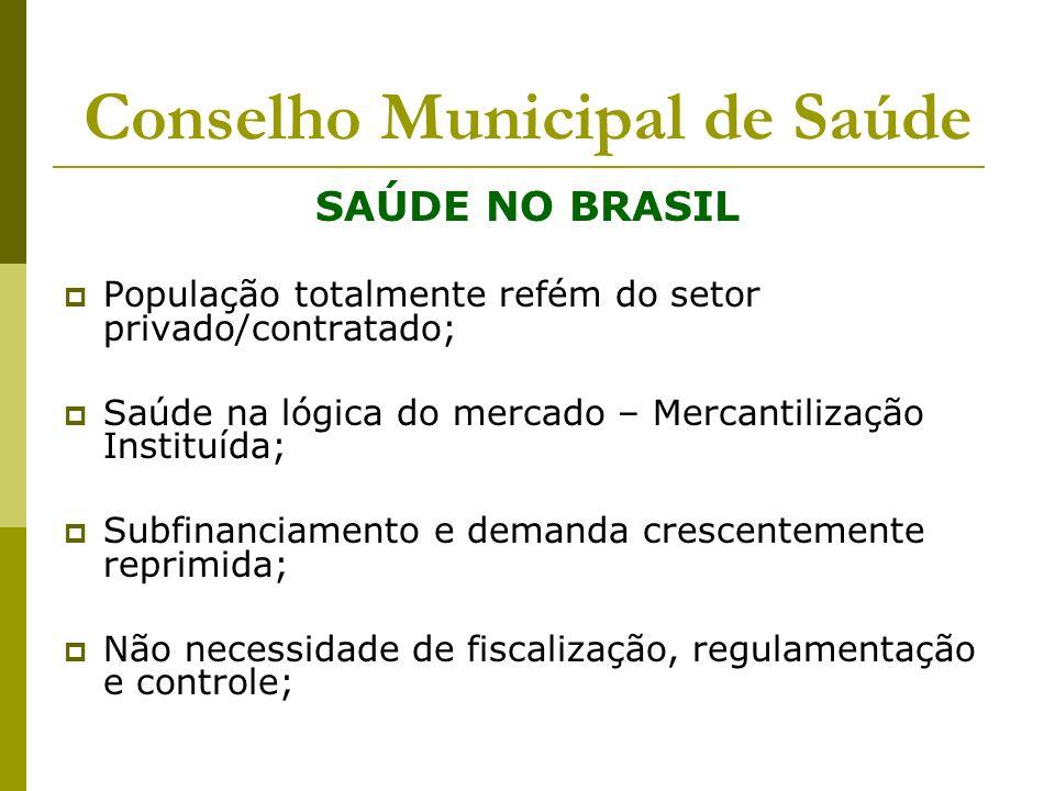 Conselho Municipal de Saúde SAÚDE NO BRASIL População totalmente refém do setor privado/contratado; Saúde na lógica do mercado – Mercantilização Insti