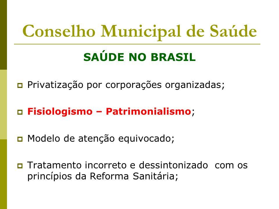 Conselho Municipal de Saúde SAÚDE NO BRASIL Privatização por corporações organizadas; Fisiologismo – Patrimonialismo; Modelo de atenção equivocado; Tr