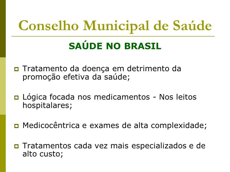 Conselho Municipal de Saúde SAÚDE NO BRASIL Tratamento da doença em detrimento da promoção efetiva da saúde; Lógica focada nos medicamentos - Nos leit