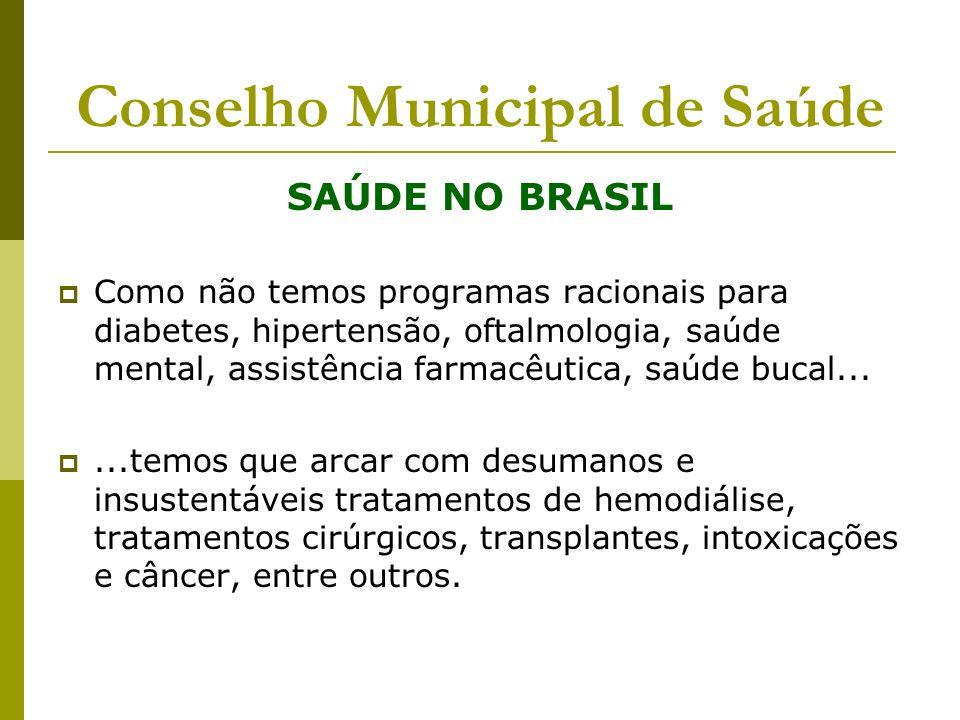 Conselho Municipal de Saúde SAÚDE NO BRASIL Como não temos programas racionais para diabetes, hipertensão, oftalmologia, saúde mental, assistência far
