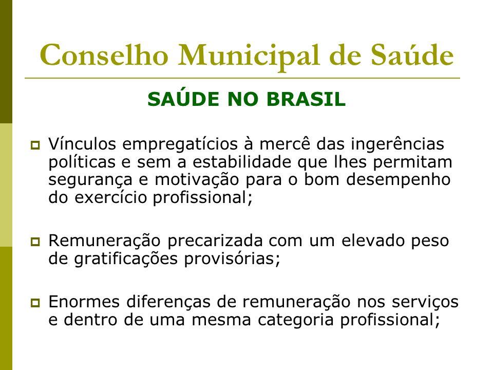 Conselho Municipal de Saúde SAÚDE NO BRASIL Vínculos empregatícios à mercê das ingerências políticas e sem a estabilidade que lhes permitam segurança