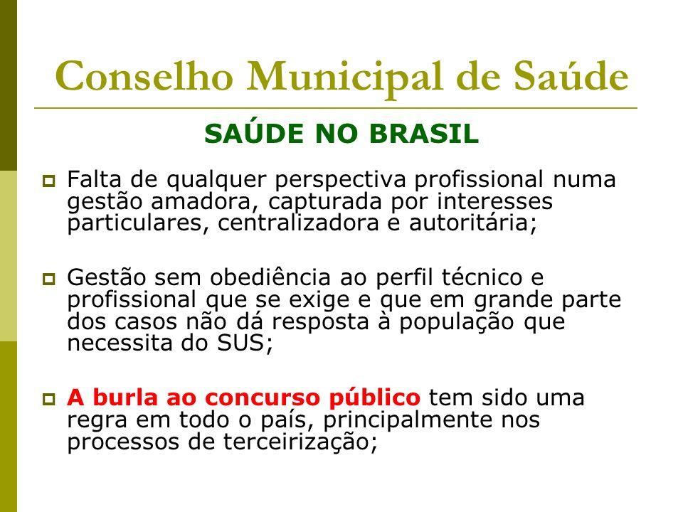 Conselho Municipal de Saúde SAÚDE NO BRASIL Falta de qualquer perspectiva profissional numa gestão amadora, capturada por interesses particulares, cen