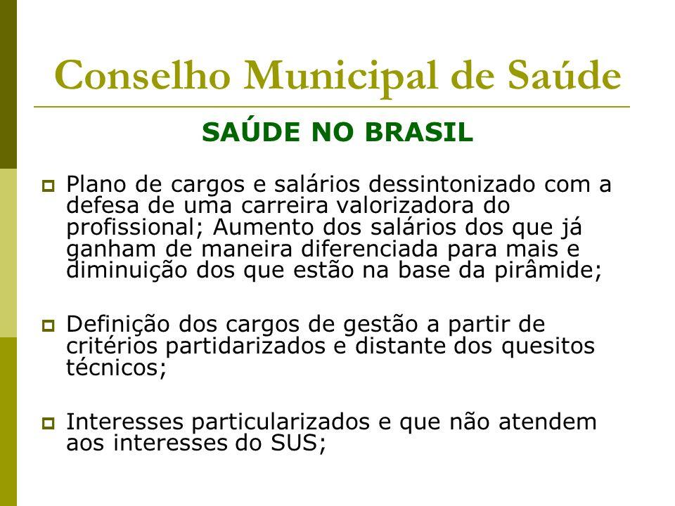 Conselho Municipal de Saúde SAÚDE NO BRASIL Plano de cargos e salários dessintonizado com a defesa de uma carreira valorizadora do profissional; Aumen