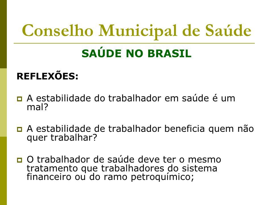 Conselho Municipal de Saúde SAÚDE NO BRASIL REFLEXÕES: A estabilidade do trabalhador em saúde é um mal? A estabilidade de trabalhador beneficia quem n