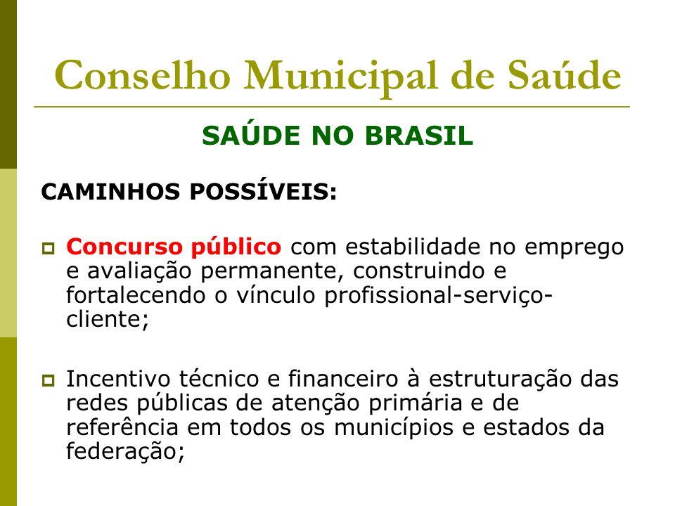 Conselho Municipal de Saúde SAÚDE NO BRASIL CAMINHOS POSSÍVEIS: Concurso público com estabilidade no emprego e avaliação permanente, construindo e for