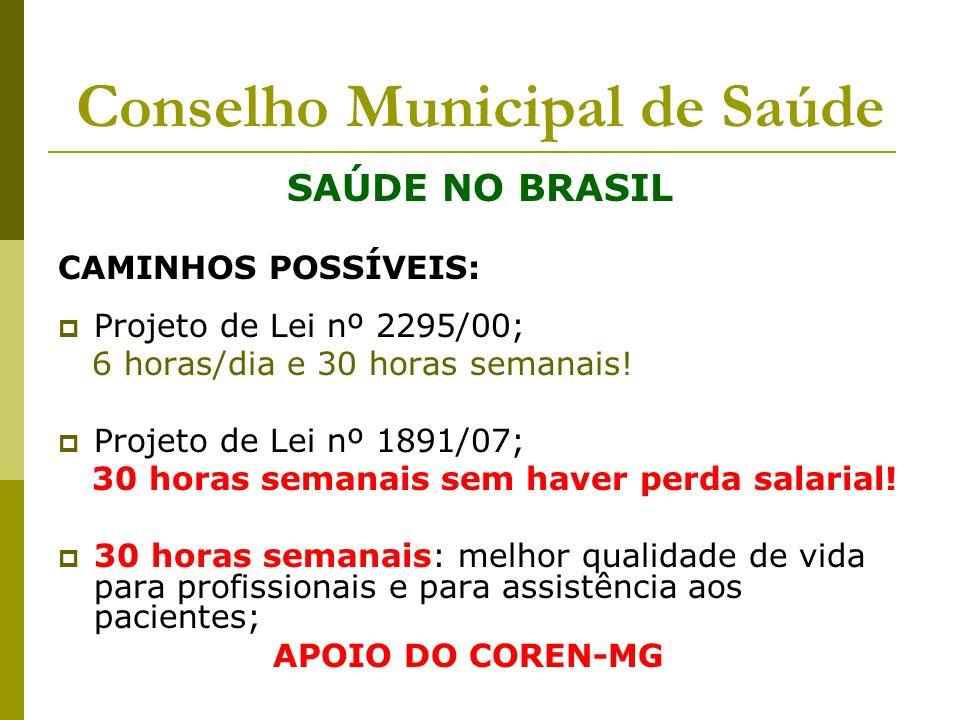 Conselho Municipal de Saúde SAÚDE NO BRASIL CAMINHOS POSSÍVEIS: Projeto de Lei nº 2295/00; 6 horas/dia e 30 horas semanais! Projeto de Lei nº 1891/07;