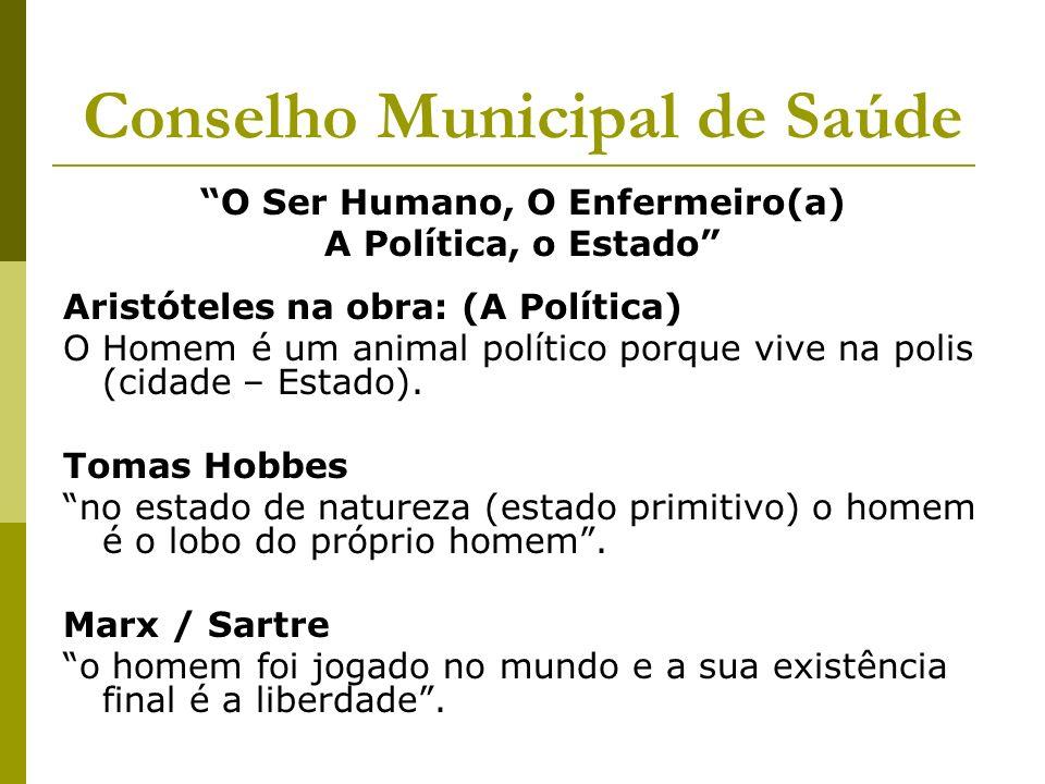 Conselho Municipal de Saúde O Ser Humano, O Enfermeiro(a) A Política, o Estado Aristóteles na obra: (A Política) O Homem é um animal político porque v