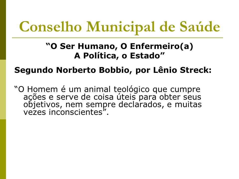 Conselho Municipal de Saúde O Ser Humano, O Enfermeiro(a) A Política, o Estado Segundo Norberto Bobbio, por Lênio Streck: O Homem é um animal teológic