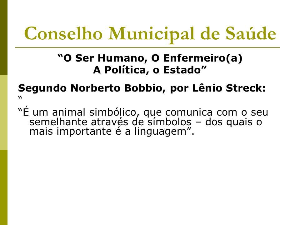 Conselho Municipal de Saúde O Ser Humano, O Enfermeiro(a) A Política, o Estado Segundo Norberto Bobbio, por Lênio Streck: É um animal simbólico, que c