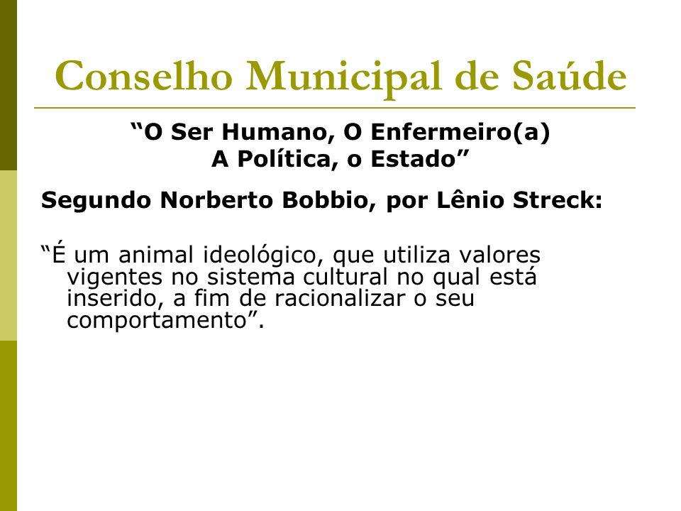 Conselho Municipal de Saúde O Ser Humano, O Enfermeiro(a) A Política, o Estado Segundo Norberto Bobbio, por Lênio Streck: É um animal ideológico, que