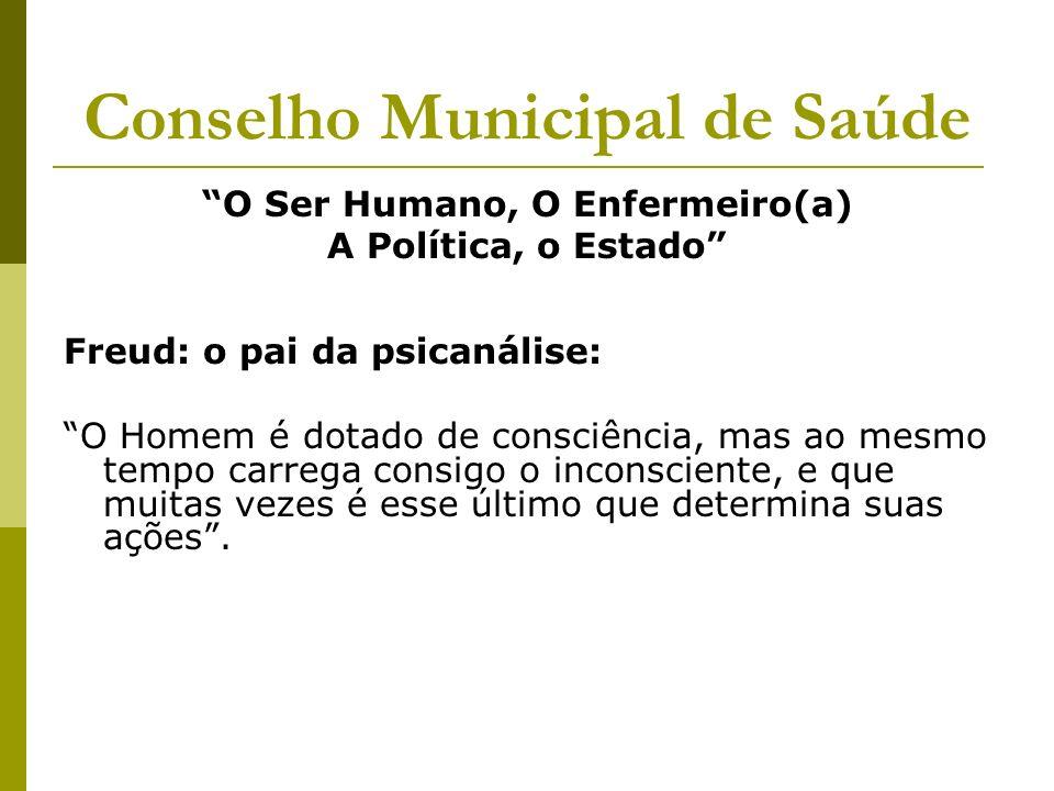 Conselho Municipal de Saúde O Ser Humano, O Enfermeiro(a) A Política, o Estado Freud: o pai da psicanálise: O Homem é dotado de consciência, mas ao me
