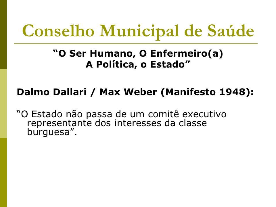 Conselho Municipal de Saúde O Ser Humano, O Enfermeiro(a) A Política, o Estado Dalmo Dallari / Max Weber (Manifesto 1948): O Estado não passa de um co