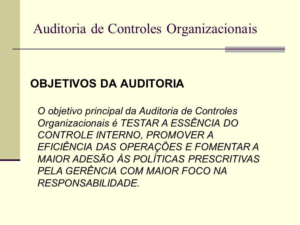 Auditoria de Controles Organizacionais OBJETIVOS DA AUDITORIA O objetivo principal da Auditoria de Controles Organizacionais é TESTAR A ESSÊNCIA DO CO