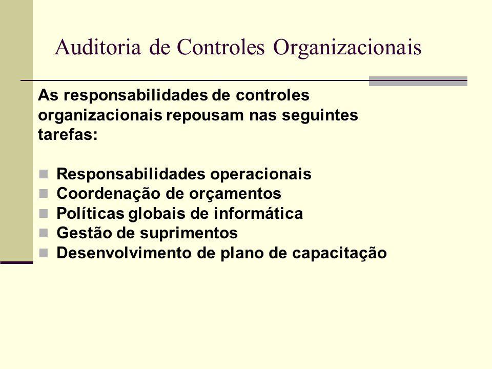 Auditoria de Controles Organizacionais As responsabilidades de controles organizacionais repousam nas seguintes tarefas: Responsabilidades operacionai