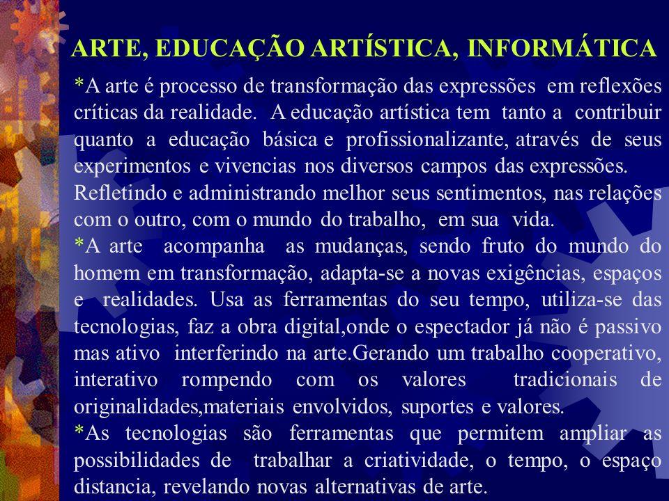 *A arte é processo de transformação das expressões em reflexões críticas da realidade. A educação artística tem tanto a contribuir quanto a educação b
