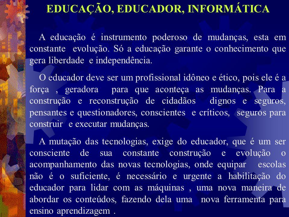 A educação é instrumento poderoso de mudanças, esta em constante evolução. Só a educação garante o conhecimento que gera liberdade e independência. O